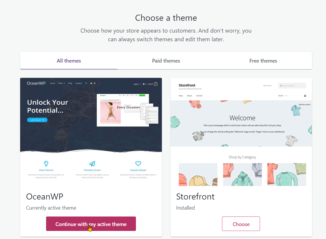 Setting up your website and WooCommerce step 13