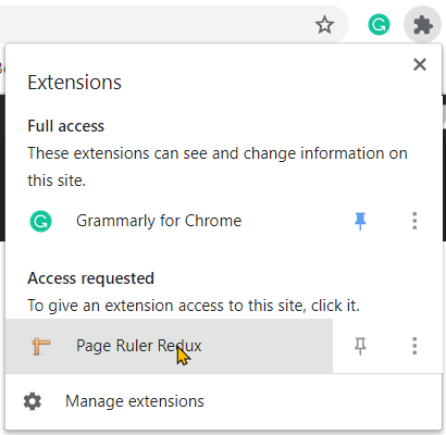 Using The Page Ruler Redux Extension on Google Chrome Step 3