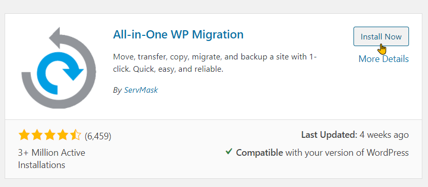 How To Backup Your Site With All-in-One WP Migration Step 3