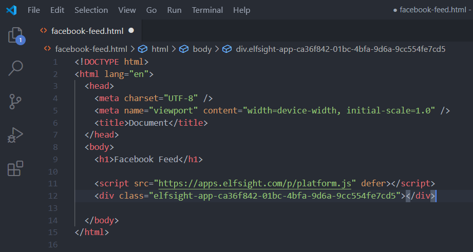 How To Embed Facebook Feed Within HTML Website Step 2