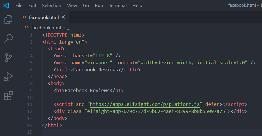 How To Embed Facebook Reviews Within Html website Step 2