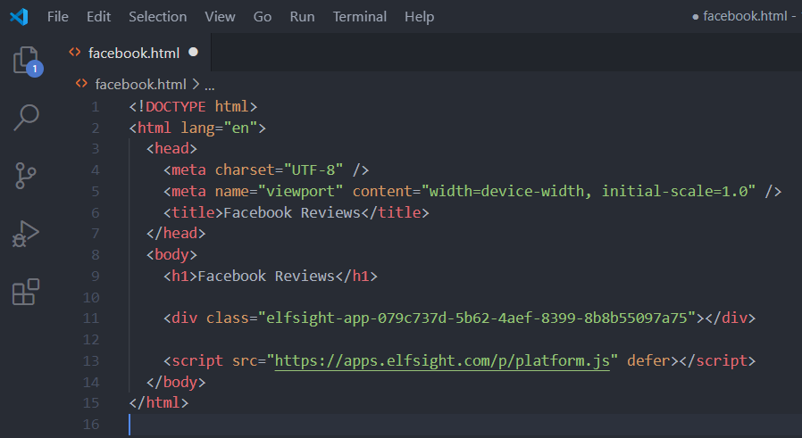 How To Embed Facebook Reviews Within Html website Step 3