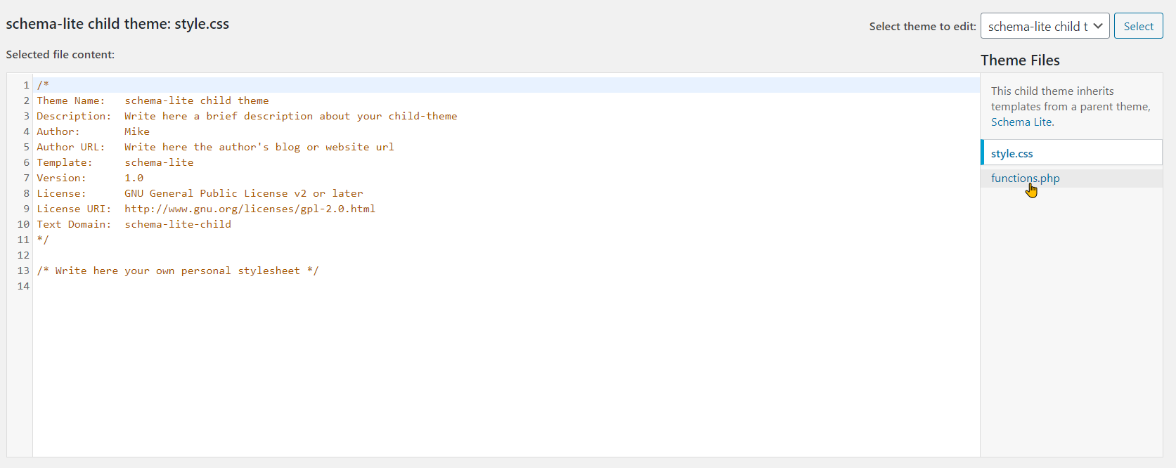 Edit Functions.php File Within WordPress Step 3