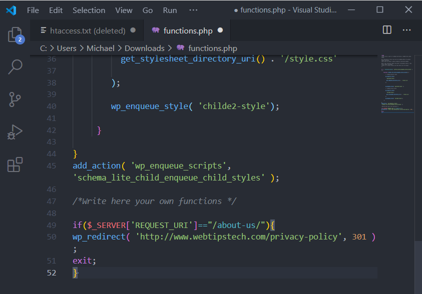 Functions.php File via FTP Step 5
