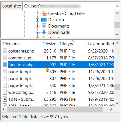 Functions.php File via FTP Step 7