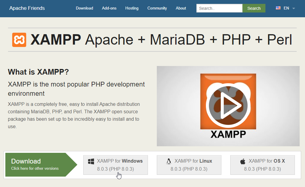 Download And Install XAMPP Step-2