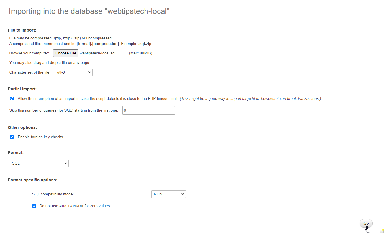 How To Manually Restore A WordPress Database Step 12